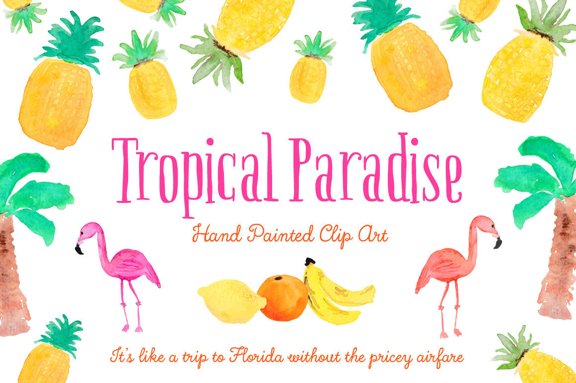 Tropical paradise hand painted. Boarder clipart pineapple
