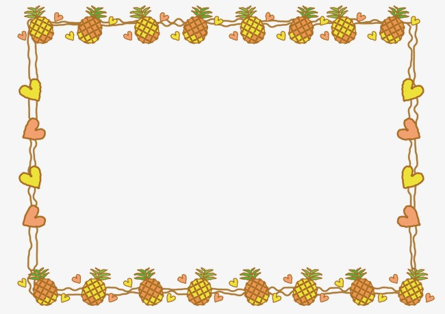 Boarder clipart pineapple. Hand painted decorative borders