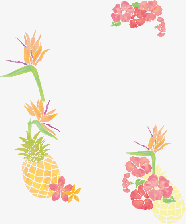 Boarder clipart pineapple. Small fresh watercolor tree