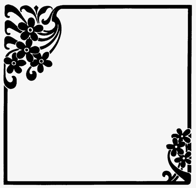 Beautiful black flower border. Boarder clipart plain