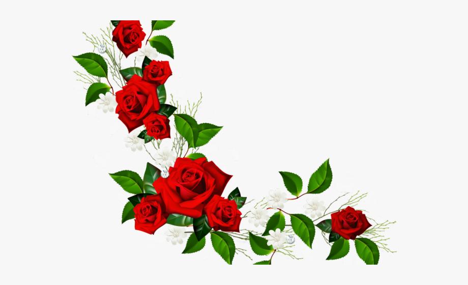 Clipart roses borders. Vine corner rose border