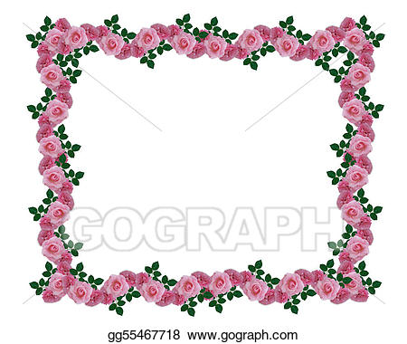 Boarder clipart rose. Stock illustrations pink roses