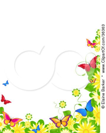 Butterflies . Border clipart spring