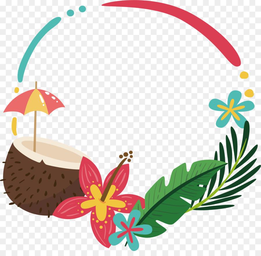 Clip art coconut palm. Boarder clipart summer