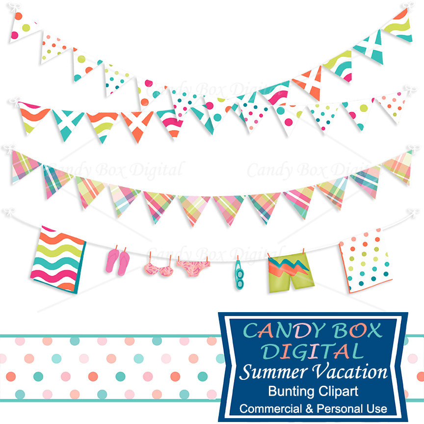 Vacation bunting beach border. Boarder clipart summer