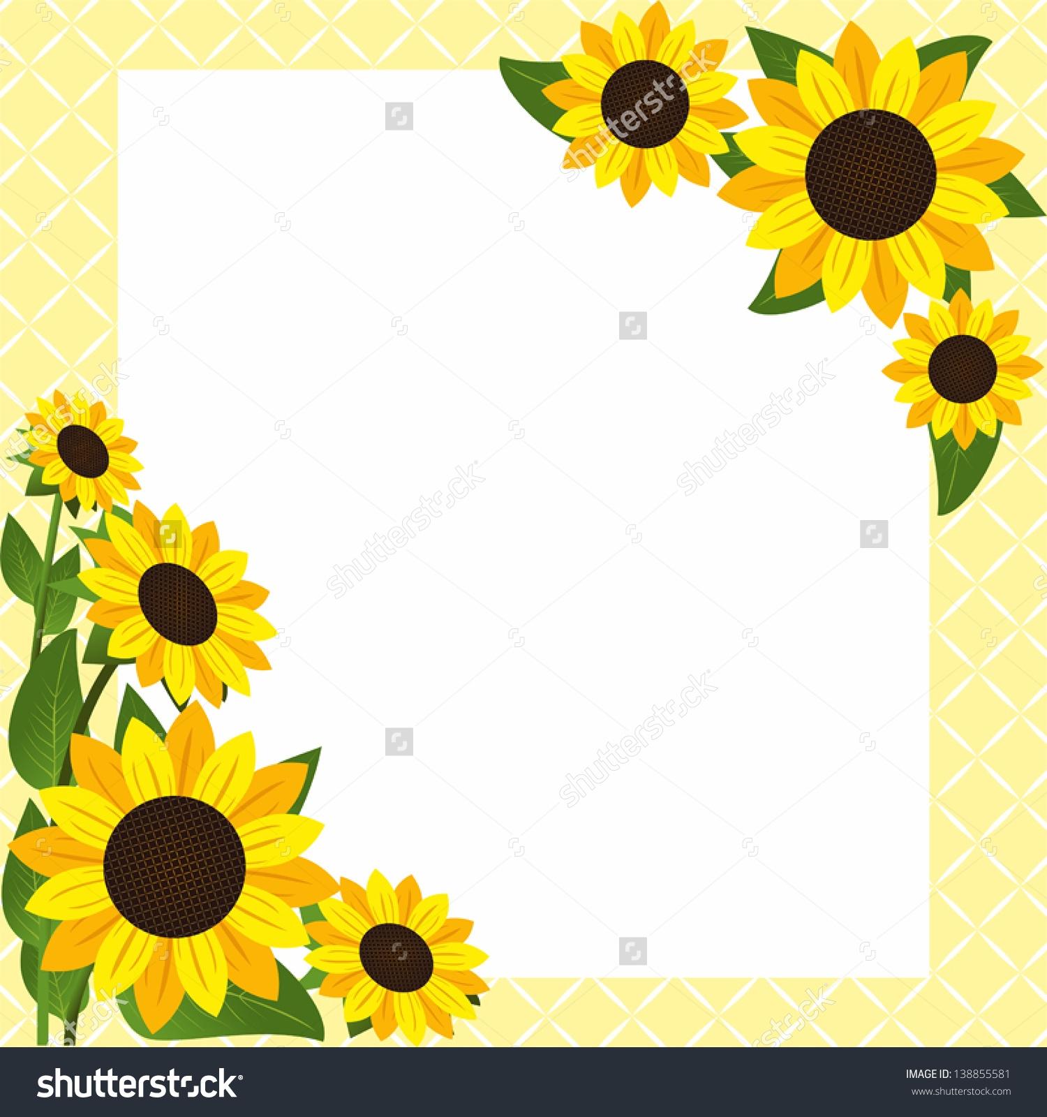 Corner border station . Boarder clipart sunflower