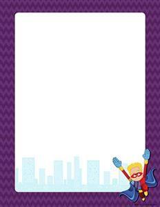 Printable border free gif. Boarder clipart superhero