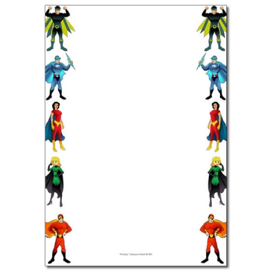 Superheroes resources primary treasure. Boarder clipart superhero