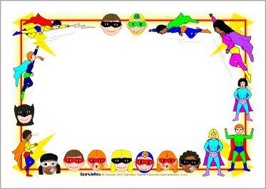 Boarder clipart superhero. A page borders sb