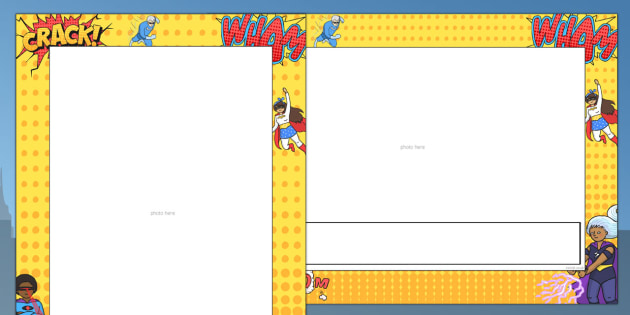 Comic themed picture border. Boarder clipart superhero