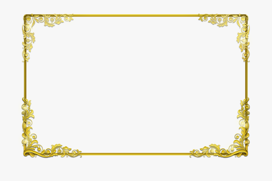 Gold border certificate . Boarder clipart transparent background