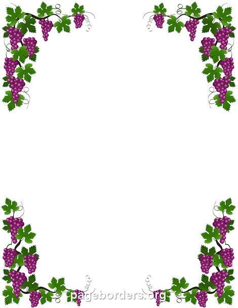 Boarder clipart vine. Printable grape border use