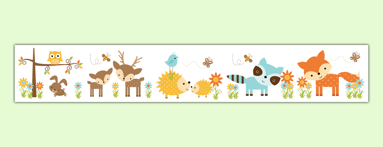 Boarder clipart woodland. Nursery forest animals wallpaper