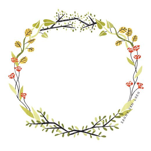 Floral border illustration for. Boarder clipart woodland