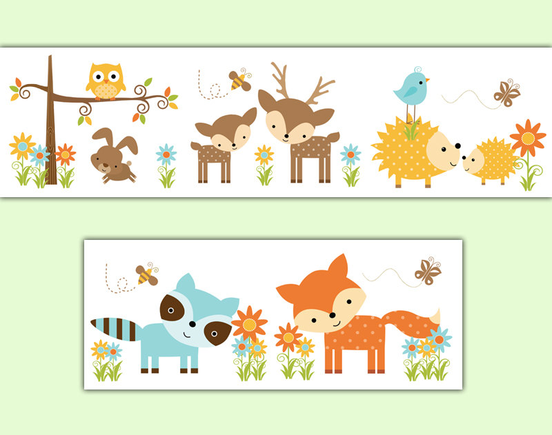 Boarder clipart woodland. Nursery decal wallpaper border