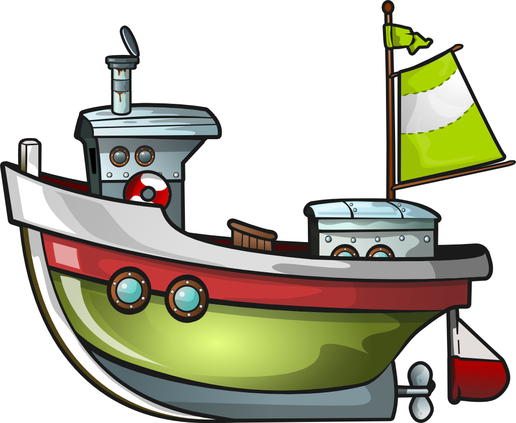 Fishing boat station. Boats clipart illustration