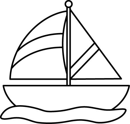 boating clipart black and white