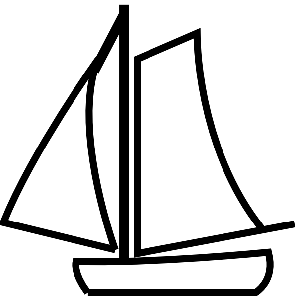 Clipart boat simple. Sailing silhouette at getdrawings
