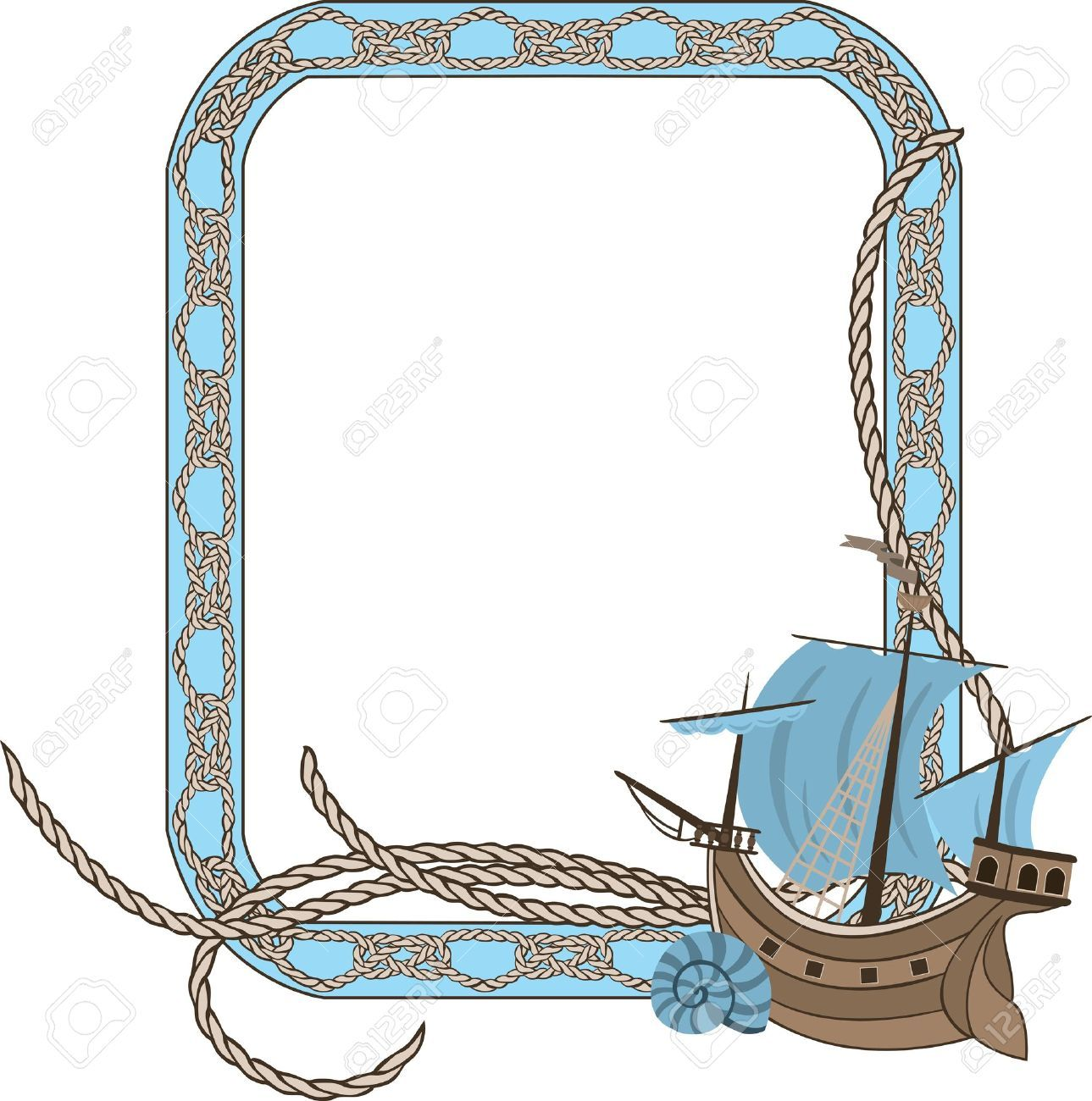 Boats clipart border. Nautical shell sea frame