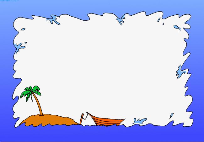 Boat clipart border. Sea cartoon blue island