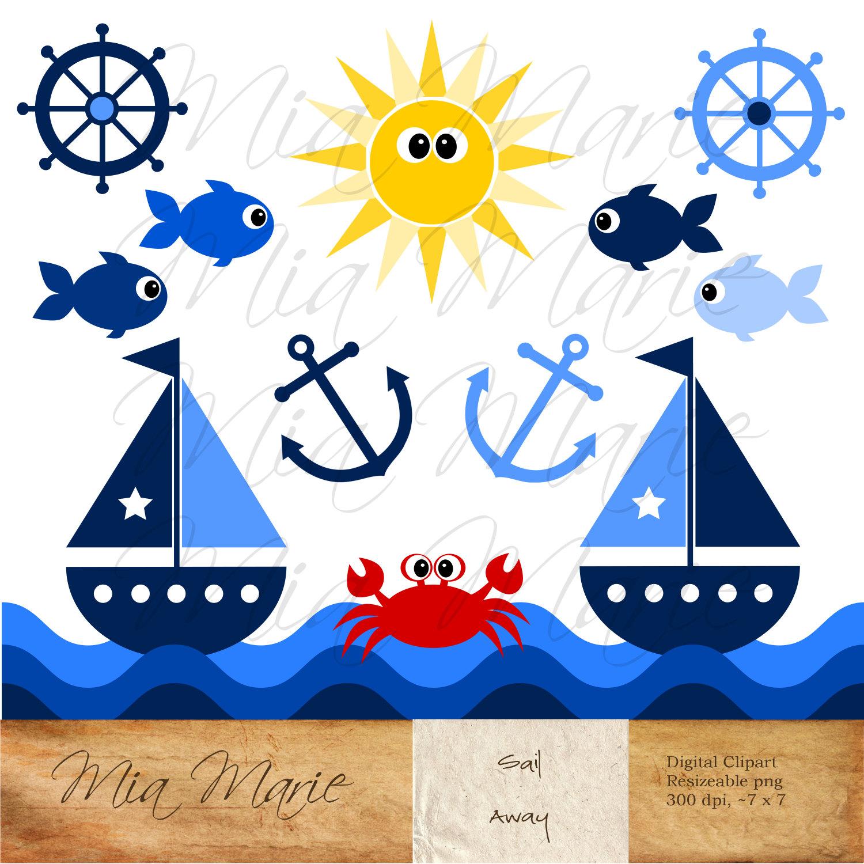 Instant download digital clip. Boating clipart summer