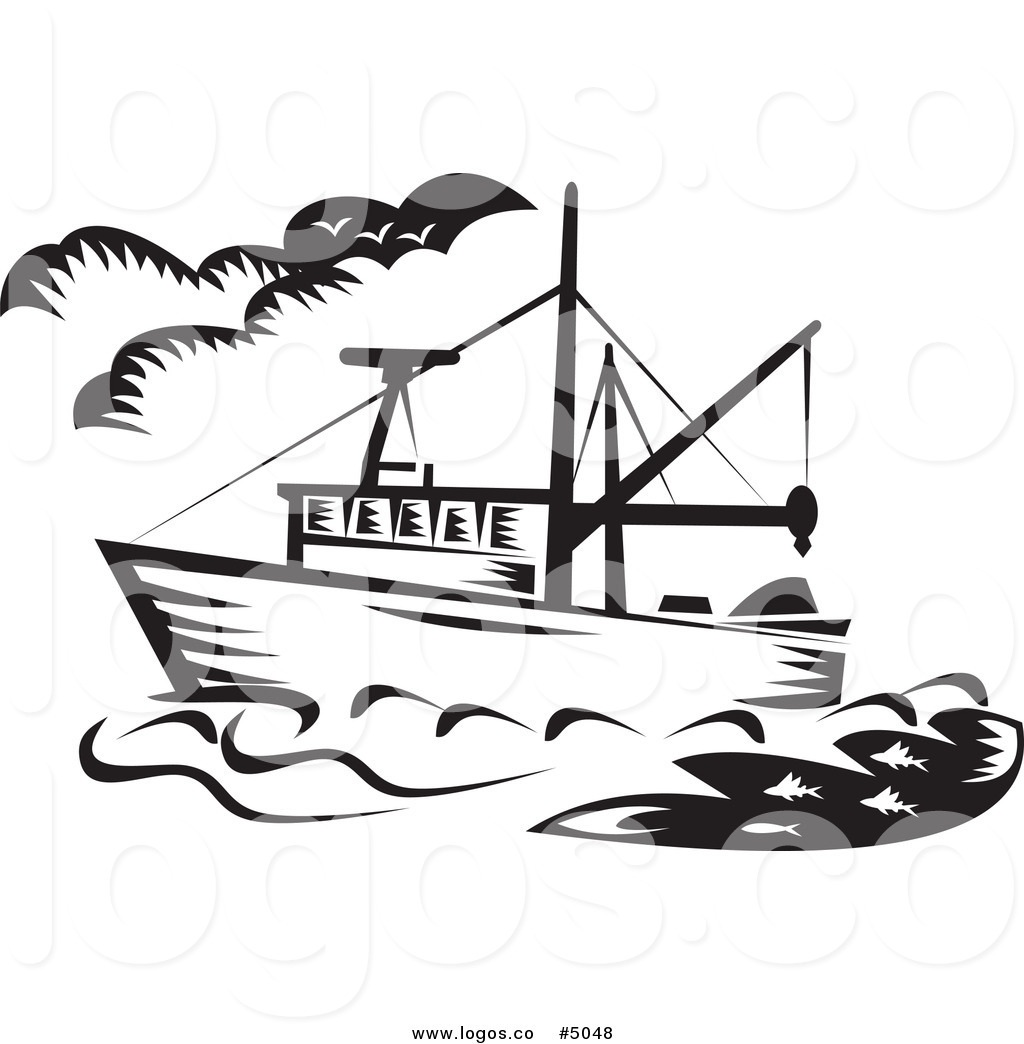 Boat clipart charter boat. Fishing black and white