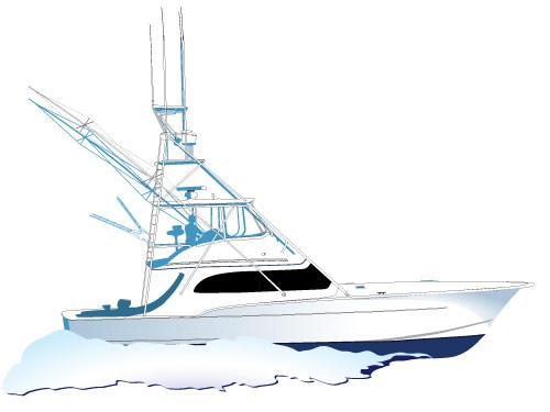 Boating clipart yacht. Vector fishing boat jet
