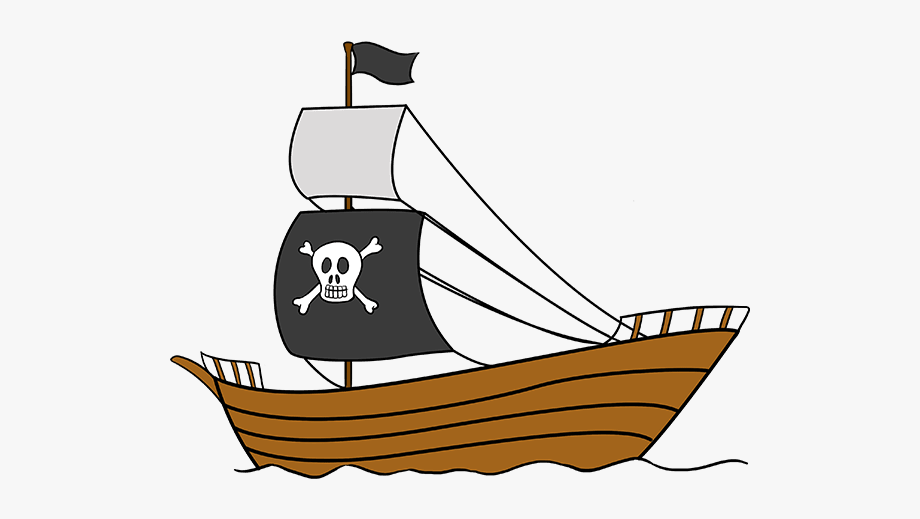 Drawing pirates pirate ship. Boat clipart easy