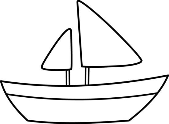 Boat outline . Boating clipart easy