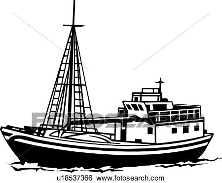 Boat clipart fishing boat. Trawler free on