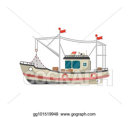 Vector small side view. Boat clipart fishing trawler