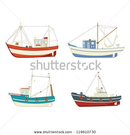 Boat clipart fishing trawler. Four colourful vector boats