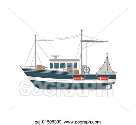 Vector art commercial side. Boat clipart fishing vessel