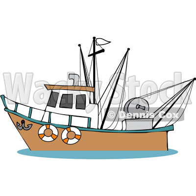 Boat clipart fishing vessel. Fisherman in cartoon