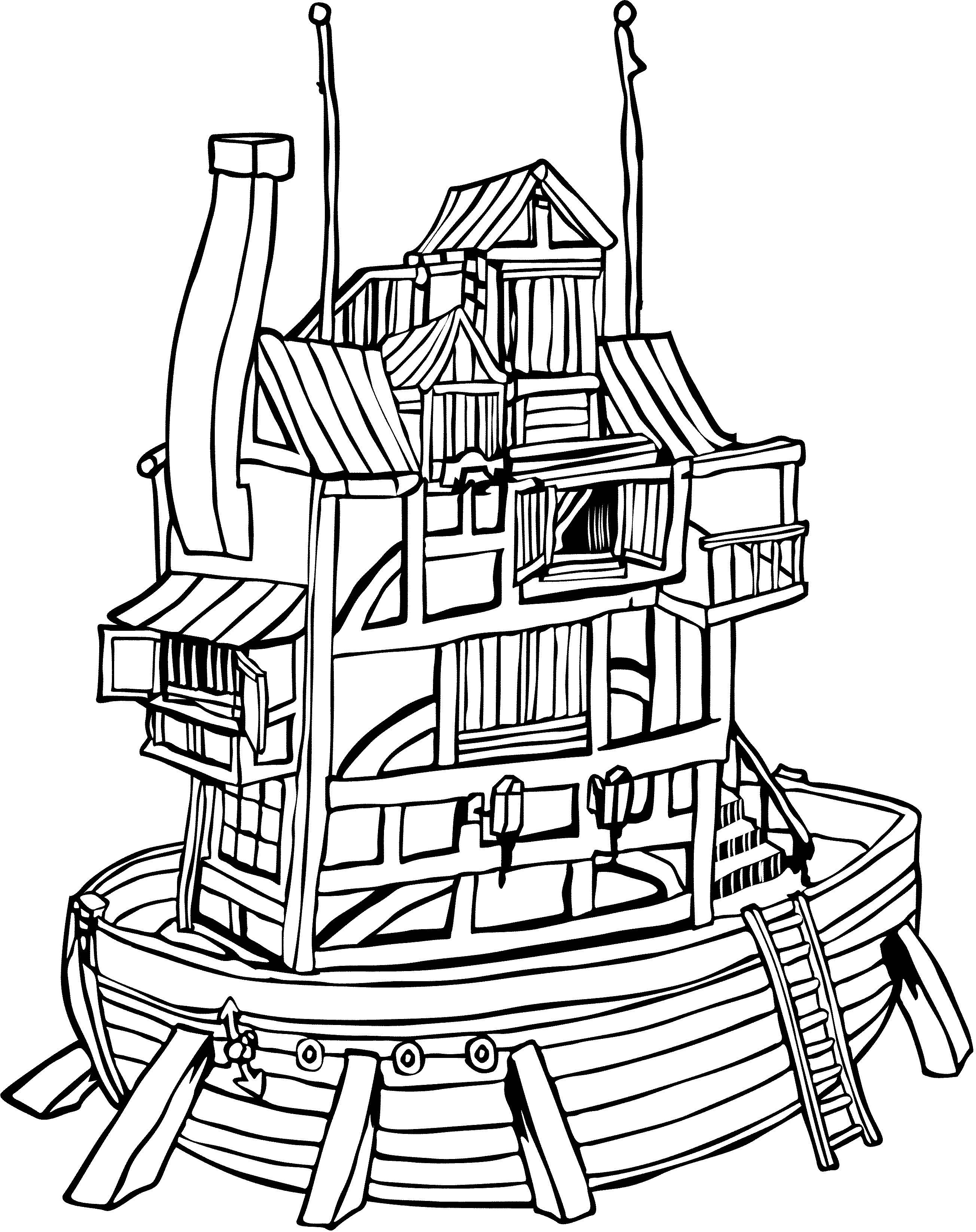 Houseboat black line drawing. Boat clipart house boat