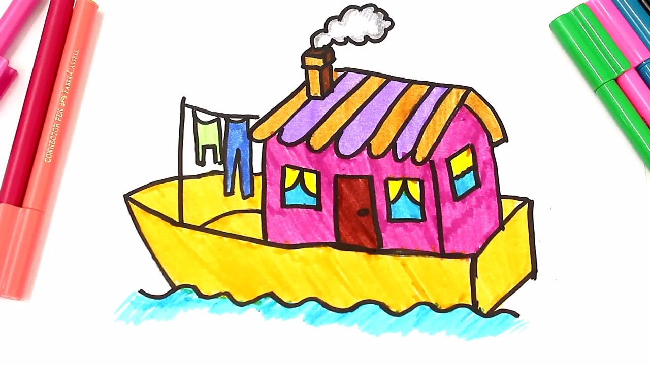 Houses for drawing at. Boat clipart house boat