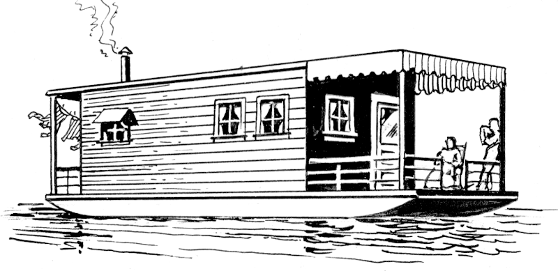 Houseboat . Boating clipart house