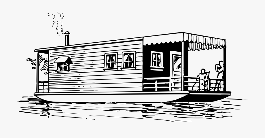 Boat clipart house boat. Fishing houseboat clip art
