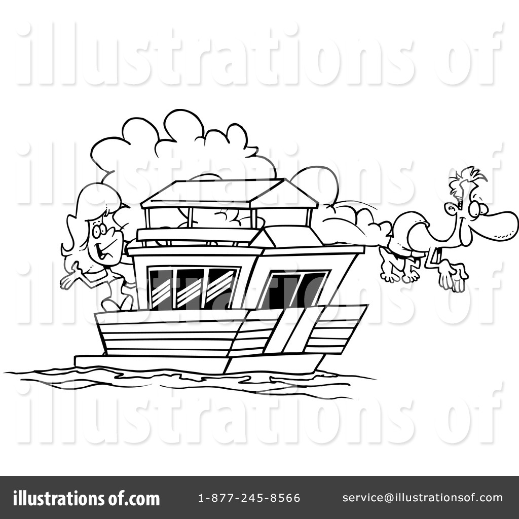 Boat clipart house boat. Illustration by toonaday royaltyfree