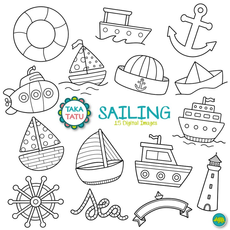 Sailing digital stamp clip. Boats clipart printable