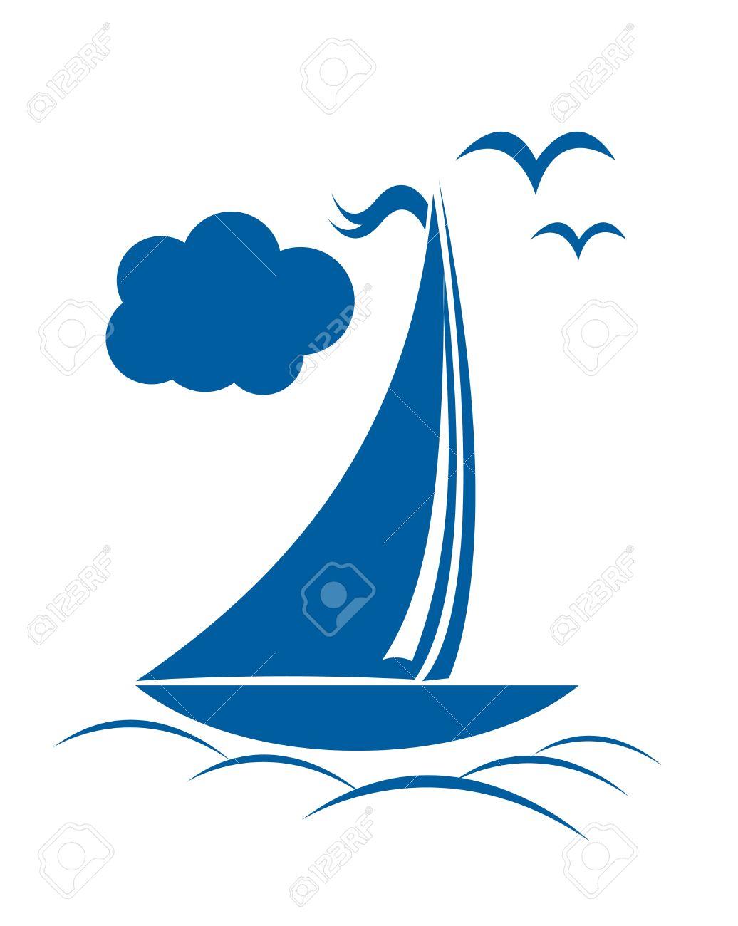 Boat clipart logo. Ocean blue pencil and