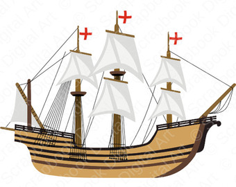Boat clipart mayflower. Pilgrims and indians digital