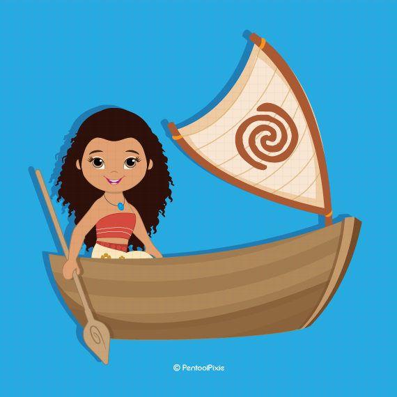 Polynesian princess fairytale cute. Boat clipart moana