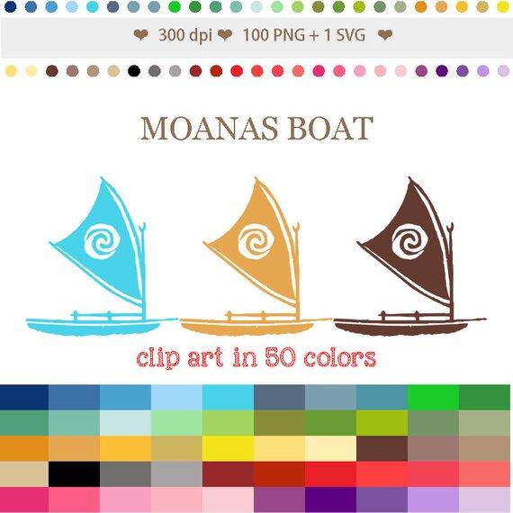 Boat clipart moana.  colors digital moanas