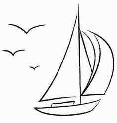 Boat clipart outline. Sailboat drawing pinterest tattoo