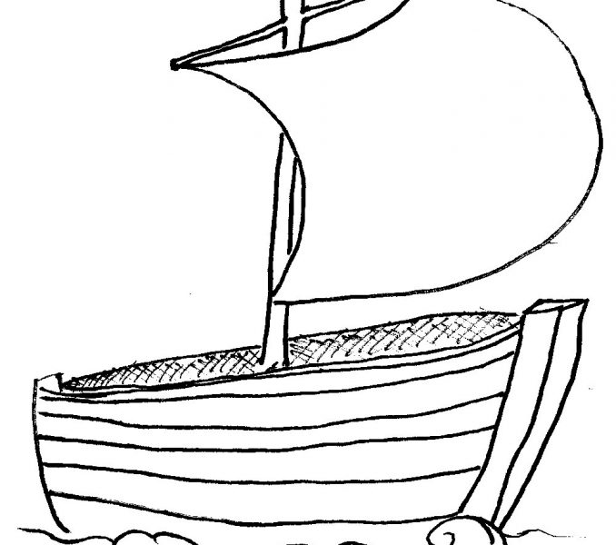 Boat clipart outline. Of a kids coloring