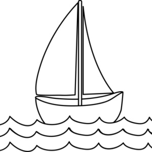 Black and white free. Boat clipart outline