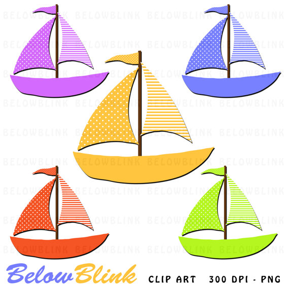 Sail boat digital scrapbooking. Boating clipart clip art