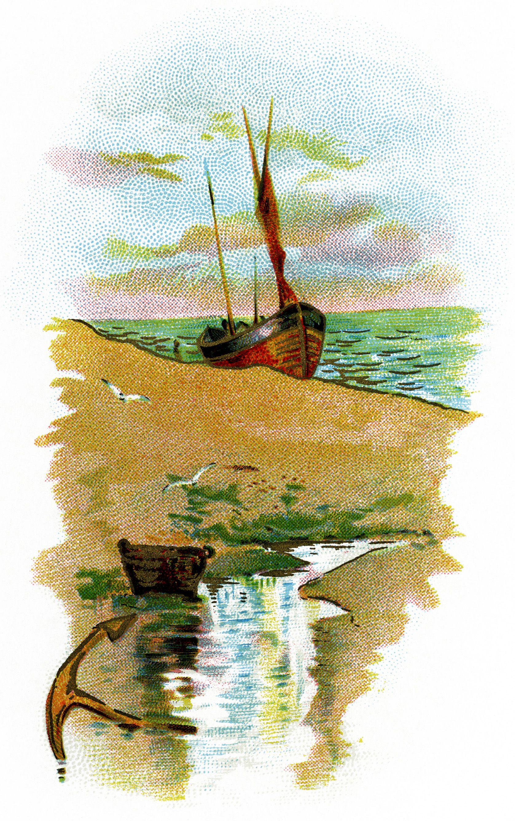Boat clipart printable. Sailing ship on beach