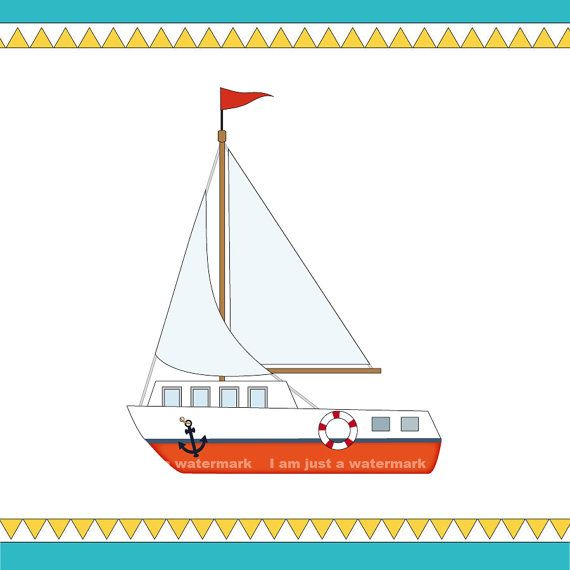Boat clipart printable. Sailing a colored and